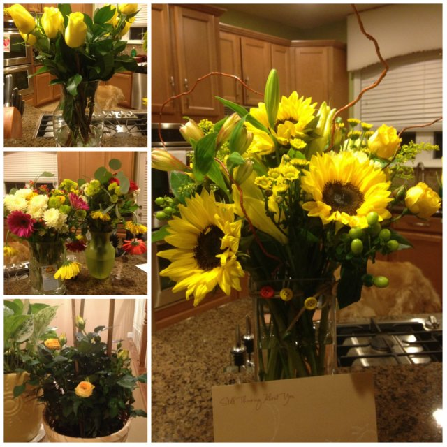 Thank you for the sunshiny flowers and your love and support.