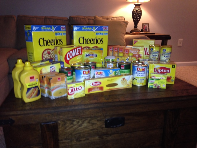 """Table of Sunshine"":  Yellow Donations for the Food Bank"